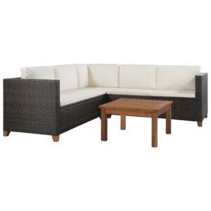 4 pcs conjunto lounge jardim c/ almofadões vime PE castanho - PORTES GRÁTIS