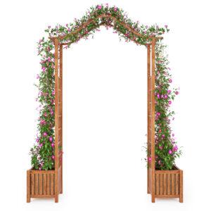 Arco com vasos de jardim madeira de acácia maciça 180x40x218 cm - PORTES GRÁTIS
