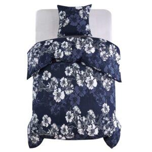 Conjunto capa edredão 2 pcs 135x200/80x80cm floral azul-marinho - PORTES GRÁTIS