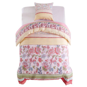 Conjunto capa edredão 2 pcs 135x200/80x80cm floral/riscas rosa - PORTES GRÁTIS