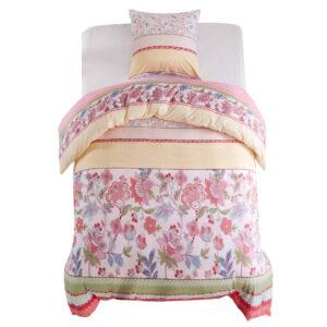 Conjunto capa edredão 2 pcs 155x200/80x80cm floral/riscas rosa - PORTES GRÁTIS