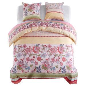 Conjunto capa edredão 3 pcs 240x220/80x80cm floral/riscas rosa - PORTES GRÁTIS