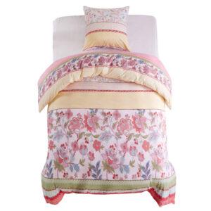 Conjunto capa edredão 2 pcs 140x200/60x70cm floral/riscas rosa - PORTES GRÁTIS