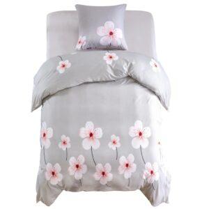 Conjunto capa edredão 2 pcs 140x220/60x70 cm design floral bege - PORTES GRÁTIS