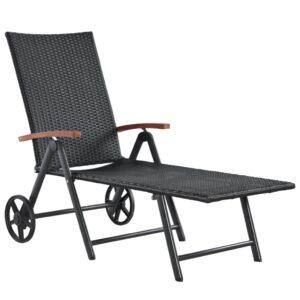 Espreguiçadeira com rodas em vime preto - PORTES GRÁTIS