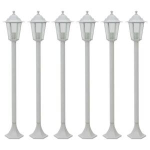 Candeeiros de pé para jardim 6 pcs E27 110 cm alumínio branco - PORTES GRÁTIS