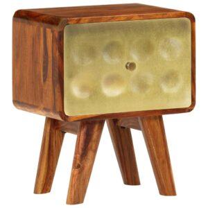 Mesa de cabeceira sheesham maciça estampa dourada 49x40x30 cm - PORTES GRÁTIS
