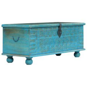Arca de arrumos madeira mangueira maciça 100x40x41 cm azul - PORTES GRÁTIS
