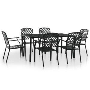 7 pcs conjunto de jantar para exterior aço preto - PORTES GRÁTIS