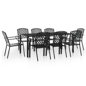 9 pcs conjunto de jantar para exterior aço preto - PORTES GRÁTIS