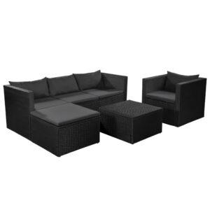 4 pcs conjunto lounge para jardim vime PE preto e cinzento - PORTES GRÁTIS