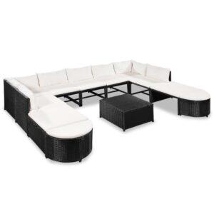 12 pcs conjunto lounge de jardim c/ almofadões vime PE preto - PORTES GRÁTIS