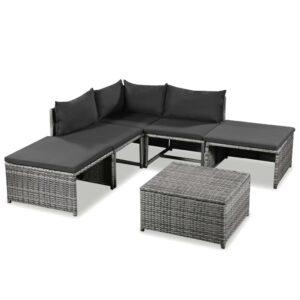 6 pcs conjunto lounge de jardim c/ almofadões vime PE cinzento - PORTES GRÁTIS