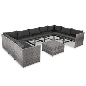 10 pcs conjunto lounge de jardim c/ almofadões vime PE cinzento - PORTES GRÁTIS