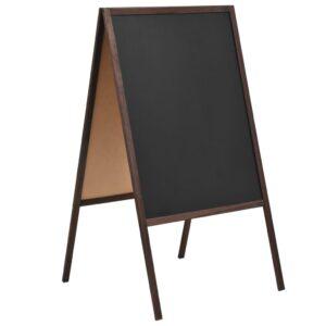 Quadro negro vertical de dupla face em madeira de cedro 60x80cm - PORTES GRÁTIS