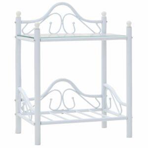 Mesa de cabeceira aço e vidro temperado 45x30,5x60cm branco - PORTES GRÁTIS