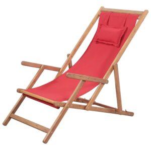 Cadeira de praia dobrável tecido estrutura de madeira vermelho - PORTES GRÁTIS