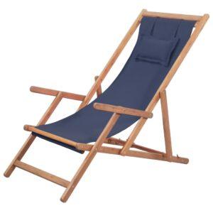 Cadeira de praia dobrável tecido e estrutura de madeira azul - PORTES GRÁTIS