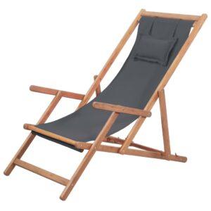 Cadeira de praia dobrável tecido estrutura de madeira cinzento - PORTES GRÁTIS
