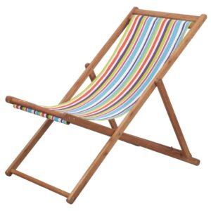 Cadeira de praia dobrável tecido estrutura madeira multicolor - PORTES GRÁTIS