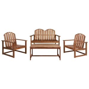 4 pcs conjunto lounge exterior madeira acácia maciça - PORTES GRÁTIS