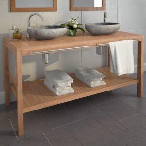 Móvel lavatório teca maciça 132x45x75 cm - PORTES GRÁTIS