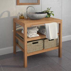 Móvel lavatório c/ 2 cestos casa banho teca maciça 74x45x75 cm - PORTES GRÁTIS