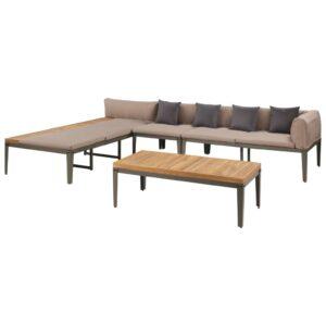4 pcs conj. lounge jardim c/ almofadões acácia maciça castanho - PORTES GRÁTIS