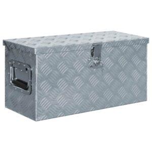 Caixa de alumínio 61,5x26,5x30 cm prateado - PORTES GRÁTIS