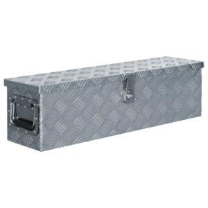 Caixa de alumínio 80,5x22x22 cm prateado - PORTES GRÁTIS
