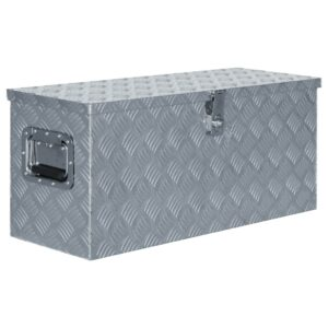 Caixa de alumínio 80x30x35 cm prateado - PORTES GRÁTIS