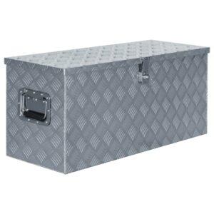 Caixa de alumínio 90,5x35x40 cm prateado - PORTES GRÁTIS