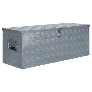 Caixa de alumínio 110,5x38,5x40 cm prateado - PORTES GRÁTIS
