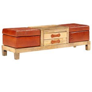 Banco arrumação madeira mangueira e couro genuíno 120x36x36 cm - PORTES GRÁTIS