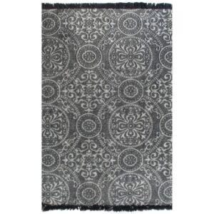 Tapete Kilim em algodão 120x180 cm com padrão cinzento - PORTES GRÁTIS