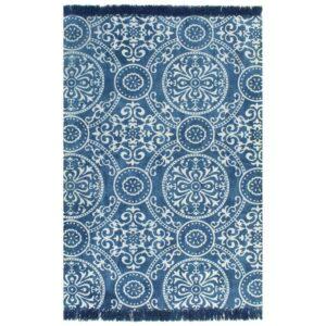 Tapete Kilim em algodão 120x180 cm com padrão azul - PORTES GRÁTIS