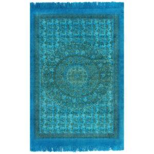 Tapete Kilim em algodão 160x230 cm com padrão turquesa - PORTES GRÁTIS