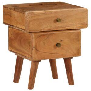 Mesa de cabeceira em madeira de acácia maciça 40x35x49 cm - PORTES GRÁTIS