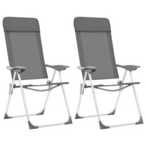 Cadeiras de campismo dobráveis 2 pcs alumínio cinzento - PORTES GRÁTIS
