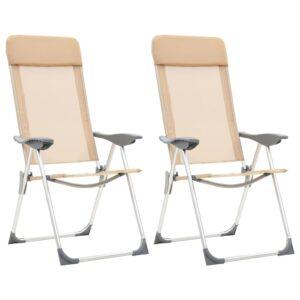 Cadeiras de campismo dobráveis 2 pcs alumínio creme - PORTES GRÁTIS