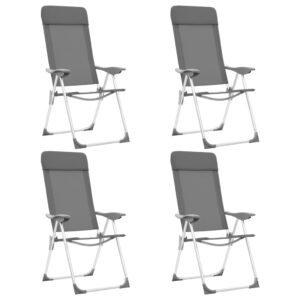 Cadeiras de campismo dobráveis 4 pcs alumínio cinzento - PORTES GRÁTIS
