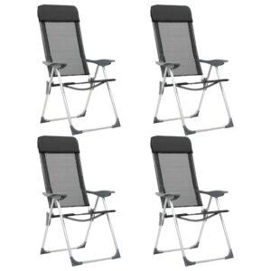 Cadeiras de campismo dobráveis 4 pcs alumínio preto - PORTES GRÁTIS