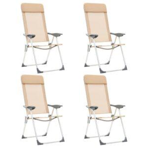 Cadeiras de campismo dobráveis 4 pcs alumínio creme - PORTES GRÁTIS
