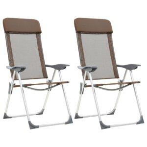 Cadeiras de campismo dobráveis 2 pcs alumínio castanho - PORTES GRÁTIS