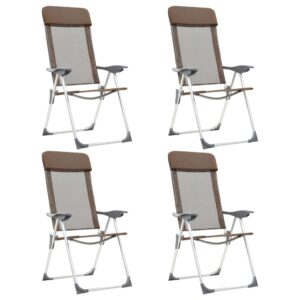Cadeiras de campismo dobráveis 4 pcs alumínio castanho - PORTES GRÁTIS