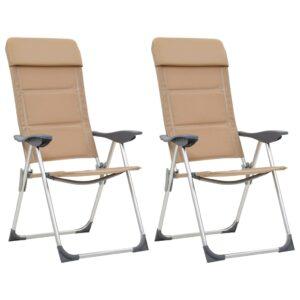 Cadeiras de campismo 2 pcs 58x69x111 cm alumínio creme - PORTES GRÁTIS