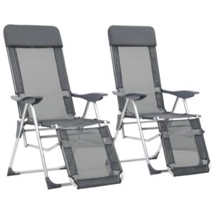 Cadeiras campismo dobráveis c/ apoio pés 2 pcs alumínio cinza - PORTES GRÁTIS