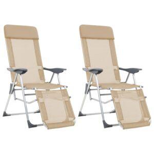 Cadeiras campismo dobráveis c/ apoio pés 2 pcs alumínio creme - PORTES GRÁTIS
