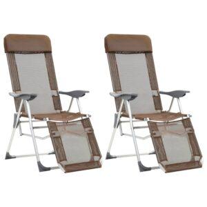 Cadeiras campismo dobr. apoio pés 2 pcs alum. cinza-acastanhado - PORTES GRÁTIS
