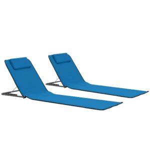 Colchões de praia dobráveis 2 pcs aço e tecido azul - PORTES GRÁTIS